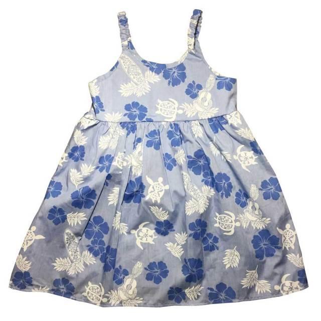 ハワイアン キッズ ワンピース ブルー 7~8歳/女の子用 子供服