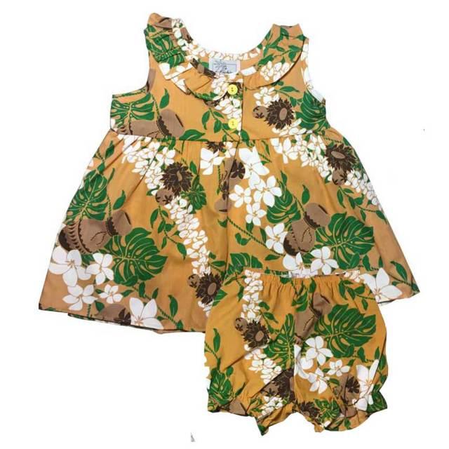 ハワイアン ベビー パンツ付きワンピース マスタード 18ヶ月/幼児用 子供服 キッズ