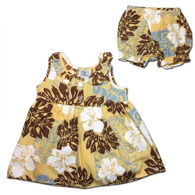 ハワイアン ベビー パンツ付きワンピース イエロー 18ヶ月/幼児用 子供服 キッズ