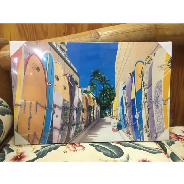 絵画 ハワイ キャンパスパネル絵 サーフボード 栗山義勝/Yoshikatsu Kuriyama ハワイアン雑貨
