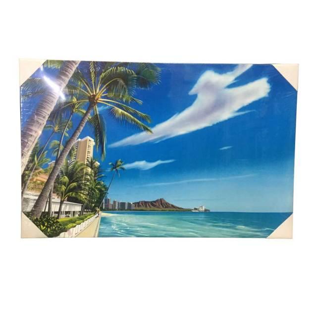 絵画 ハワイ キャンパスパネル絵 Waikiki Beach 栗山義勝/Yoshikatsu Kuriyama ハワイアン雑貨