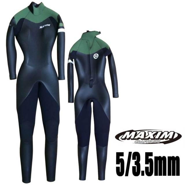 MAXIMWETSUITマキシムレディースフルスーツ5/3.5mmBLACK-Fマリーナモデル/女性用ウェットスーツサーフィン