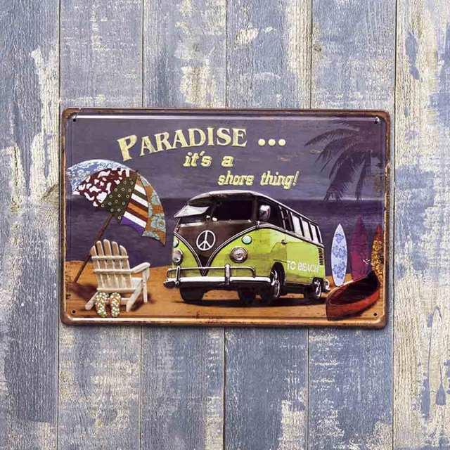 アンティークメタルプレートS paradise ブリキの看板 /サインプレート看板 スチールボード アメリカ雑貨