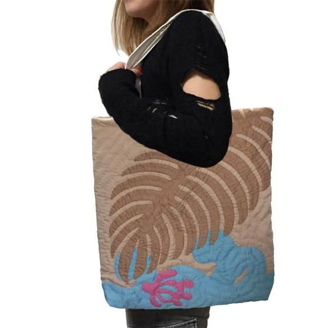 Hawaiianquilt ハワイアンキルトバッグ ヤシの葉柄トートバッグ/ レディースバッグ  ハワイアン雑貨