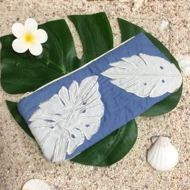 ハワイアンキルト Hawaiian Quilt リーフ柄ペンケース /筆入れ 小物入れ ポーチ レディースバッグ ハワイアン雑貨