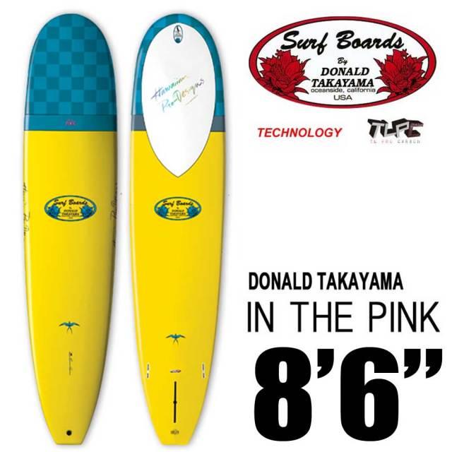 "HAWAIIAN PRO DESIGNS ドナルドタカヤマ IN THE PINK 8'6"" EPXY FLYERサーフボード Yellow/Blue"