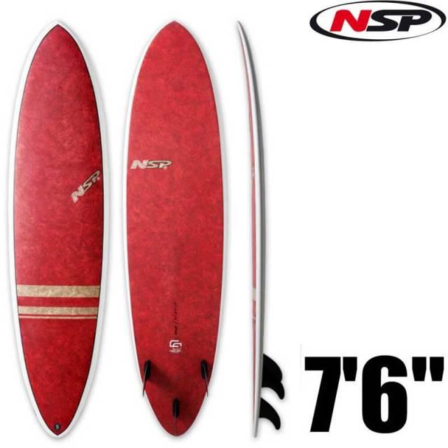 NSP サーフボード CocoMat FUN 7'6 ファンボード C305053 RED/エポキシボード 初心者用 サーフィン