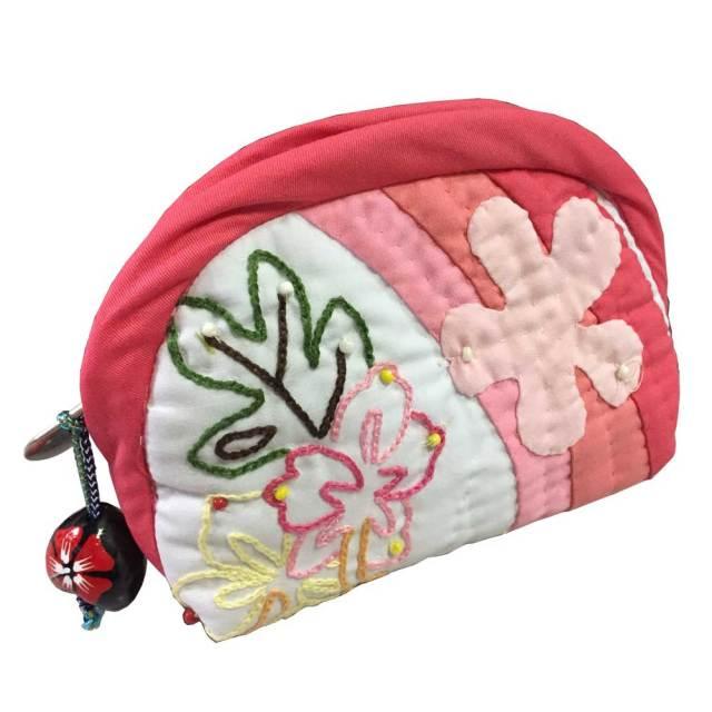 ハワイアンキルト Hawaiian Quilt ククイ付きポーチ /ハワイアンキルト  バッグ ハワイアン雑貨