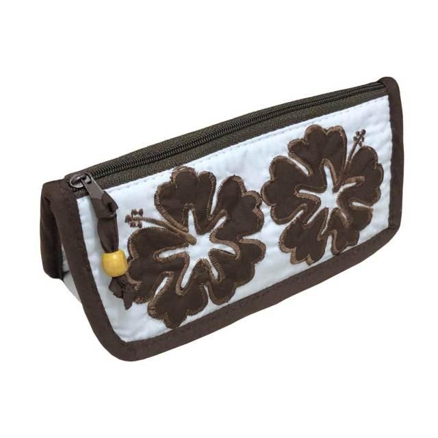 ハワイアンキルト Hawaiian Quilt ハイビスカスペンケース ポーチ 内側ダブルチャック/レディースポーチ 筆箱 ハワイアン雑貨