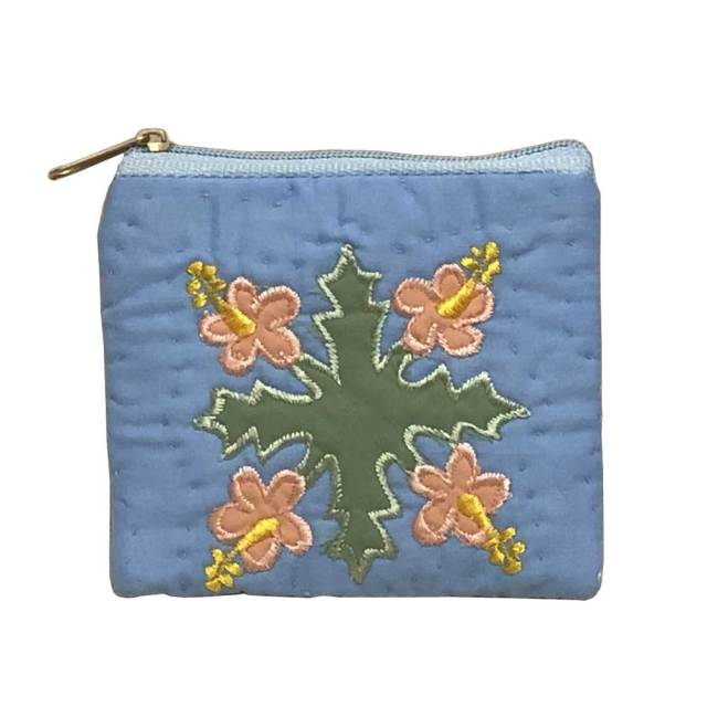 ハワイアンキルト Hawaiian Quilt  ハイビスカス柄スクエアコインケース/財布 小銭入れ