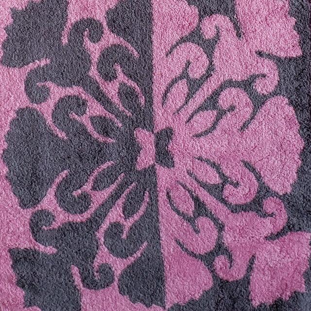 キャシーマム フェイスタオル キルト柄 花 フラワー グレー ピンク 34×80cm