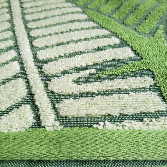 キャシーマム フェイスタオル バナナリーフ キルト柄 グリーン ループ付き 34×80cm