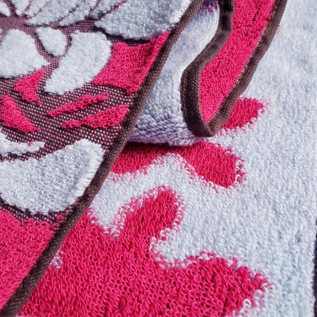 キャシーマム フェイスタオル キルト柄 プルメリア レッド ループ付き 34cm×80cm