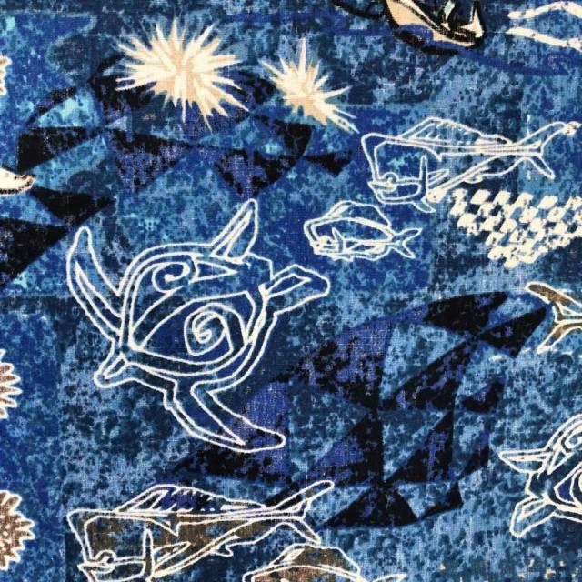 ハワイアン生地 ホヌ&シーラ&スターフィッシュ ネイビー コットン GA-17-144- Blue