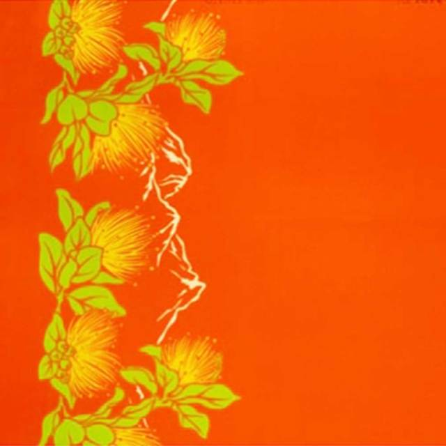 ハワイアン生地 レフアボーダー オレンジ LW-17-609-Orange