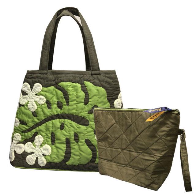 ハワイアンキルト ハンドバッグ モンステラ×プルメリア グリーン/ Hawaiian quilt レディースバッグ