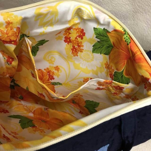 ハワイアンキルト ショルダーバッグ ネイビー×ホワイト パンの木柄/Hawaiian quilt レディースバッグ