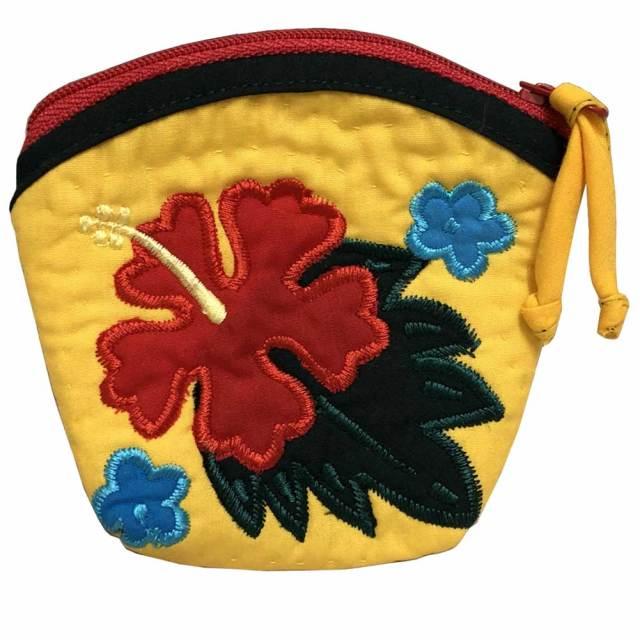 ハワイアンキルト Hawaiian Quilt  ハイビスカスコインケース イエロー/インテリア小物