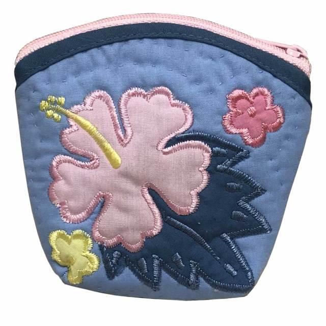 ハワイアンキルト Hawaiian Quilt  ハイビスカスコインケース ブルー/インテリア小物
