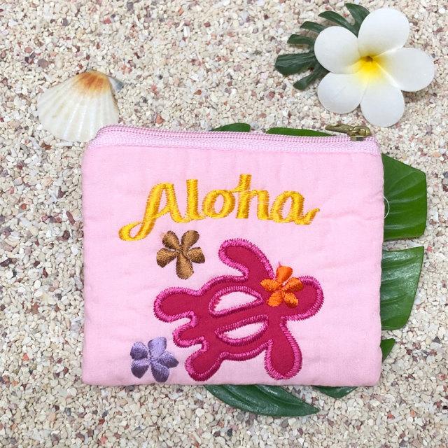 ハワイアンキルト Hawaiian Quilt ホヌ柄 スクエアコインケース/インテリア小物