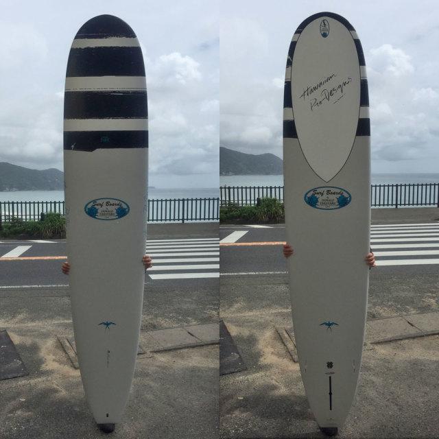 """ロングボード SURFTECH HAWAIIAN PRO DESIGNS ドナルドタカヤマ IN THE PINK 9'3""""White/Blue"""