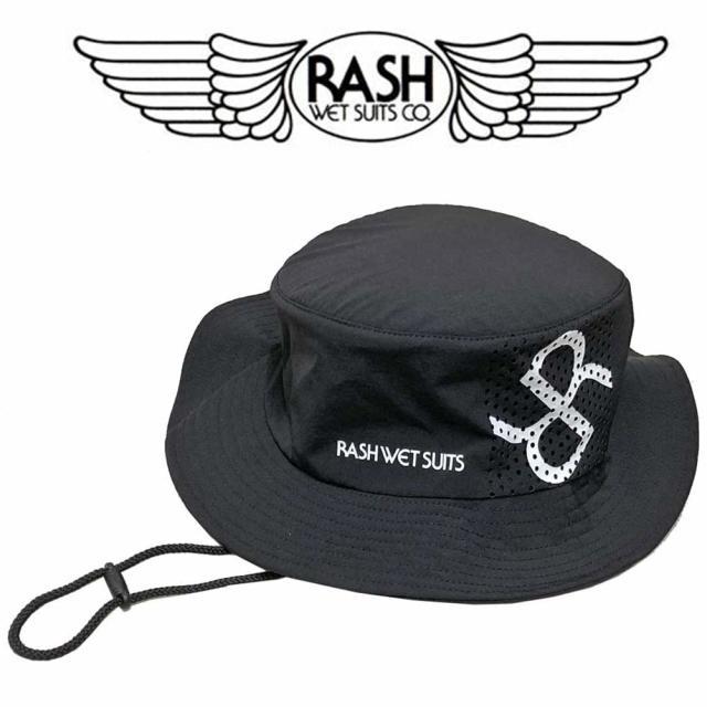 RASH ラッシュ 2018 男女兼用サーフハット ブラック/UVカット 日焼け防止 紫外線対策 サーフィン マリンスポーツ