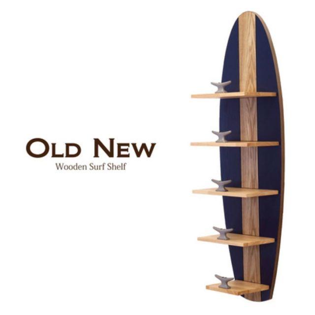 Old New ウッデン サーフ シェルフ5 サーフボード 棚 ウォールシェルフ ハワイアン雑貨 ハワイ サーフィン アメリカン雑貨 新築祝い お誕生日 クリスマス プレゼント