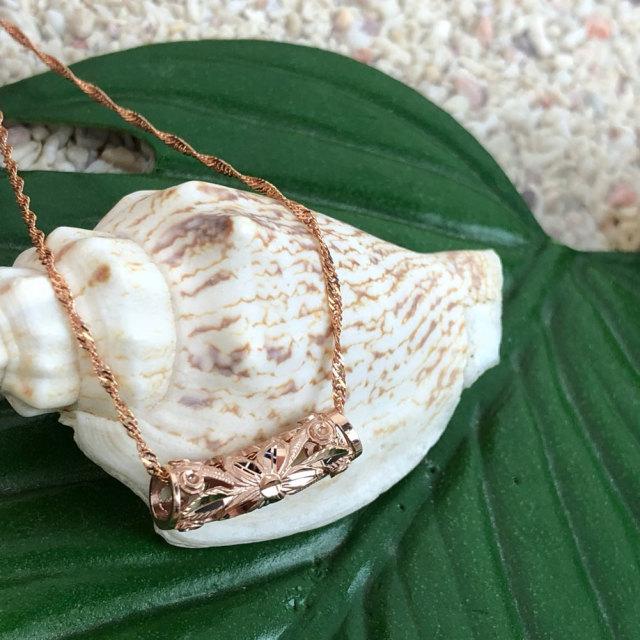 ハワイアンジュエリー 40cm シンガポールチェーン付き 14金 ピンクゴールド チューブネックレス