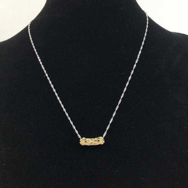 ハワイアンジュエリー 40cm シンガポールチェーン付き 14金 イエローゴールド チューブネックレス