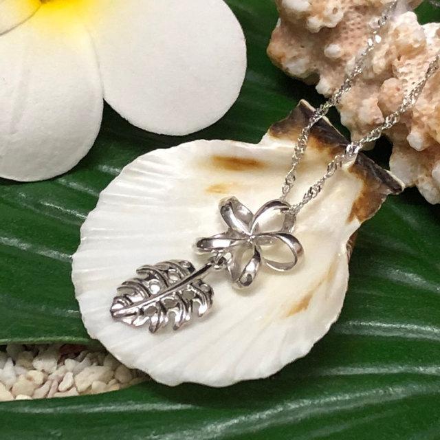 ハワイアンジュエリー チェーン付き ホワイトゴールド プルメリアモンステラ ペンダント ネックレス