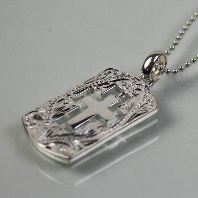 ハワイアンジュエリー ネックレス メンズ クロス シルバー チェーン 50cm 付 ボールチェーン 十字架 シルバー925 hawaiian jewelry