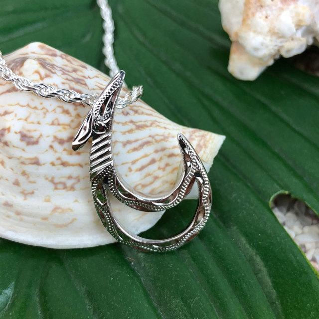 45cm カットフレンチロープチェーン付きハワイアンジュエリー フィッシュフックネックレス