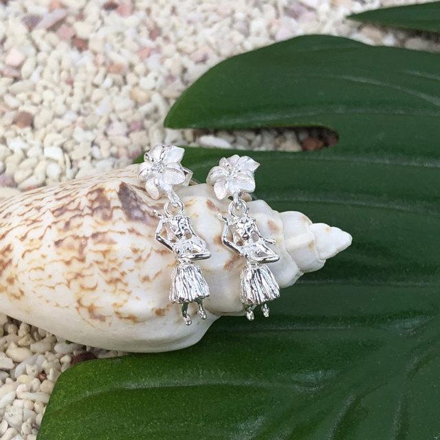 ハワイアンジュエリー シルバーキャッチピアス プルメリアフラガール