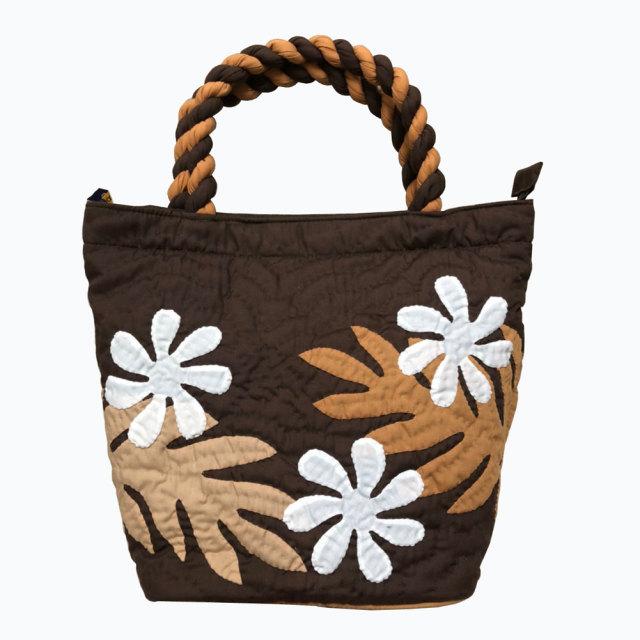 ハワイアンキルト ハンドバッグ プルメリア×モンステラ ブラウン Hawaiian quilt レディースバッグ
