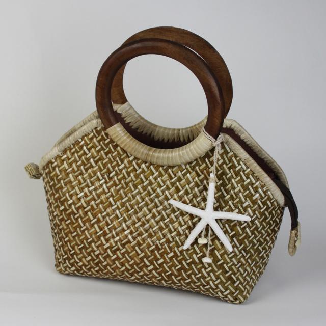 ハワイアン バッグ ラウハラ ハンドバッグ レディースバッグ かばん トートパック ハワイ雑貨 お土産 結婚式 ドレスに合う ヒトデ