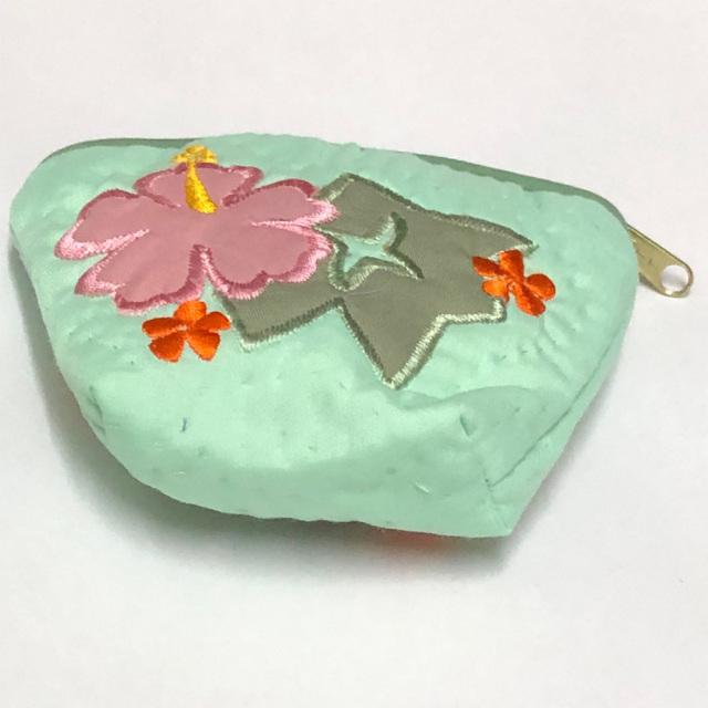 ハワイアンキルト Hawaiian Quilt ハイビスカスコインケース グリーン インテリア小物 財布 小銭入れ 小物入れ がま口