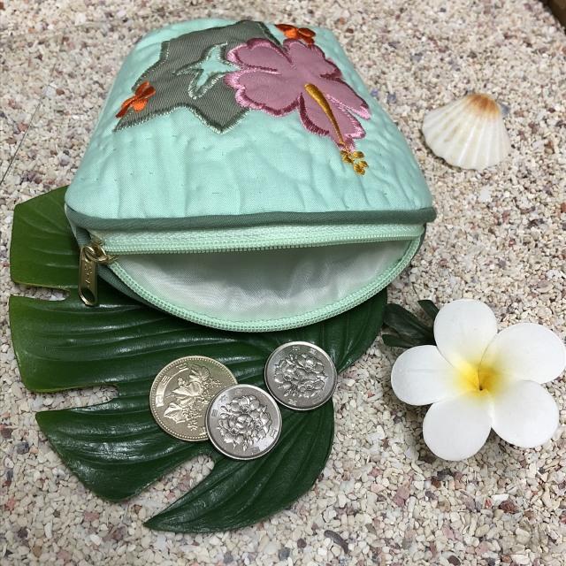ハワイアンキルト Hawaiian Quilt ハイビスカスコインケース グリーン