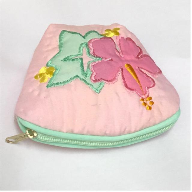 ハワイアンキルト Hawaiian Quilt ハイビスカスコインケース ライトピンク インテリア小物 財布 小銭入れ 小物入れ がま口