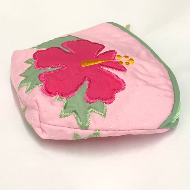 ハワイアンキルト Hawaiian Quilt ハイビスカスコインケース ピンク インテリア小物 財布 小銭入れ 小物入れ がま口