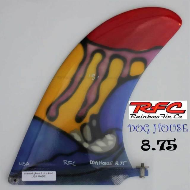 ロングボードフィン RAINBOW FIN レインボーフィン ロングボード用フィン DOG HOUSE 8.75/RFC ドックハウス ステンドグラス アートフィン  サーフィン センターフィン シングル フィン