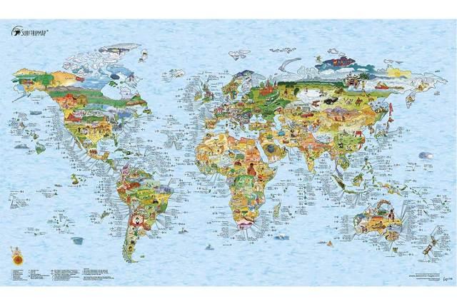 サーフィン 世界地図 サーフトリップ マップ Surftrip Map サーフスポット サーファー ギフト プレゼント クリスマス