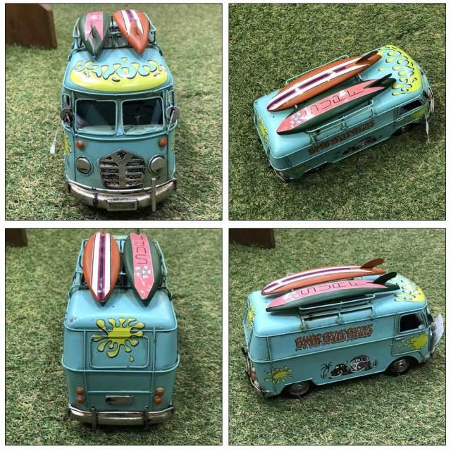 ブリキのおもちゃ ビンテージカー サーフバスブルー 6873/Vintage Car  Printing  Bus/雑貨 置物 サーフィン