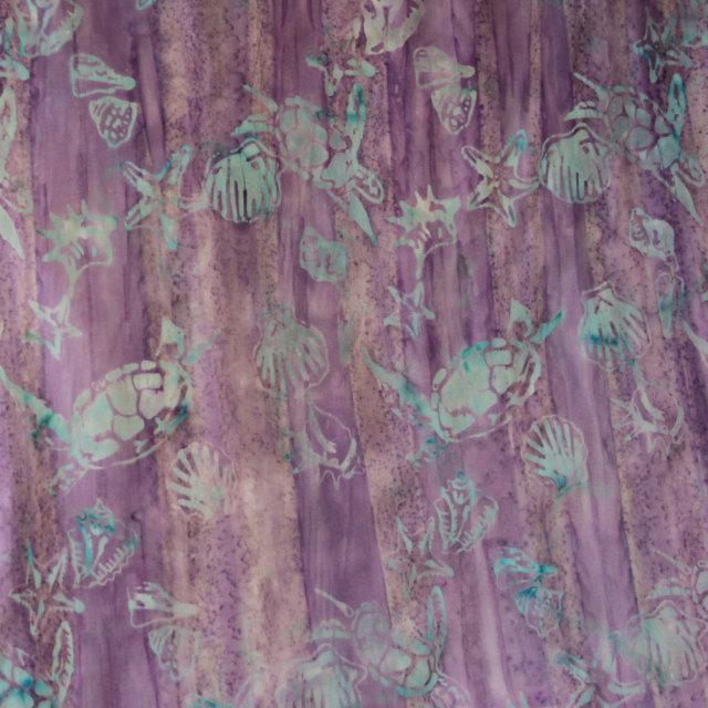 ハワイアン生地 タイダイ パープル系 ホヌ×シェル柄 手芸用布 コットン 綿 海亀