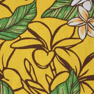 ハワイアン生地 イエロー プルメリア×リーフ柄 手芸用布 ポリエステル×コットン 綿 海亀