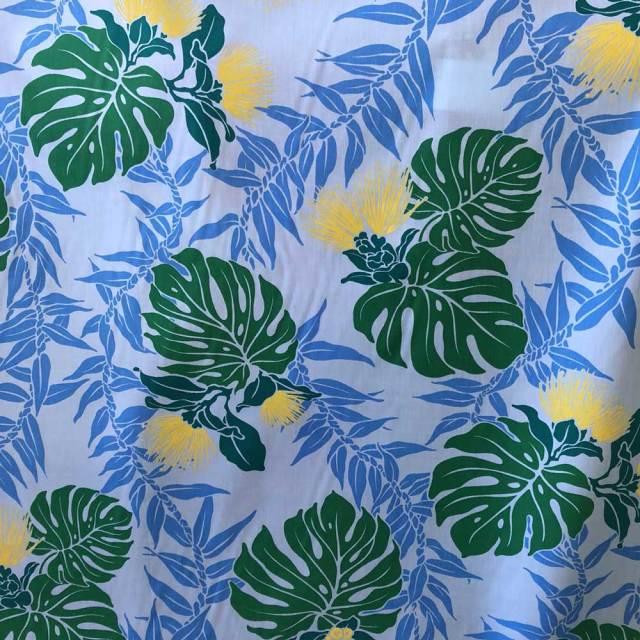 ハワイアン生地 ターコイズ モンステラ×レフア×レイ 花柄手芸用布 ポリエステル×コットン