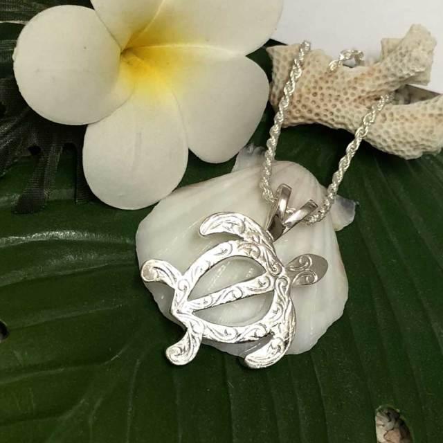 ハワイアンジュエリー チェーン付き シルバーメンズネックレス ホヌ Sカットフレンチロープチェーン50cm ハワイアンアクセサリー ペンダント Silver925
