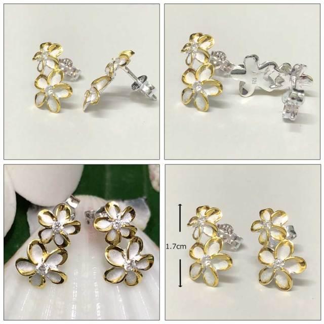 ハワイアンジュエリー シルバー925 ダブルプルメリアキャッチピアスイエローシルバーライン/hawaiian jewely