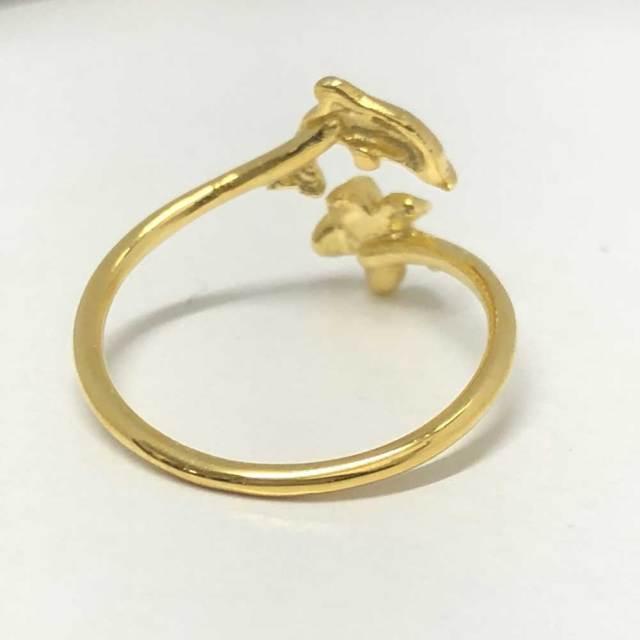 ハワイアンジュエリー イエローシルバートゥーリング イルカ×プルメリア/ピンキーリング Toe Ring 足用 指輪