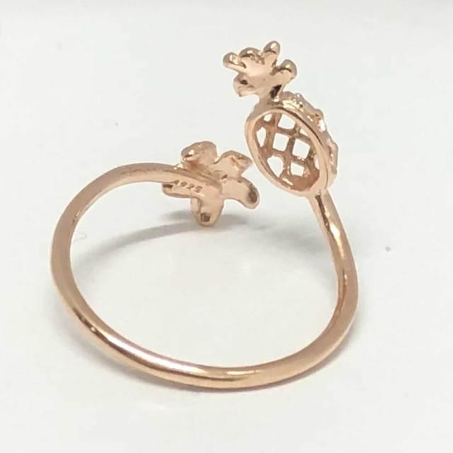 ハワイアンジュエリー ピンクシルバートゥーリングパイナップル×プルメリア/ピンキーリングアクセサリー 足用 指輪