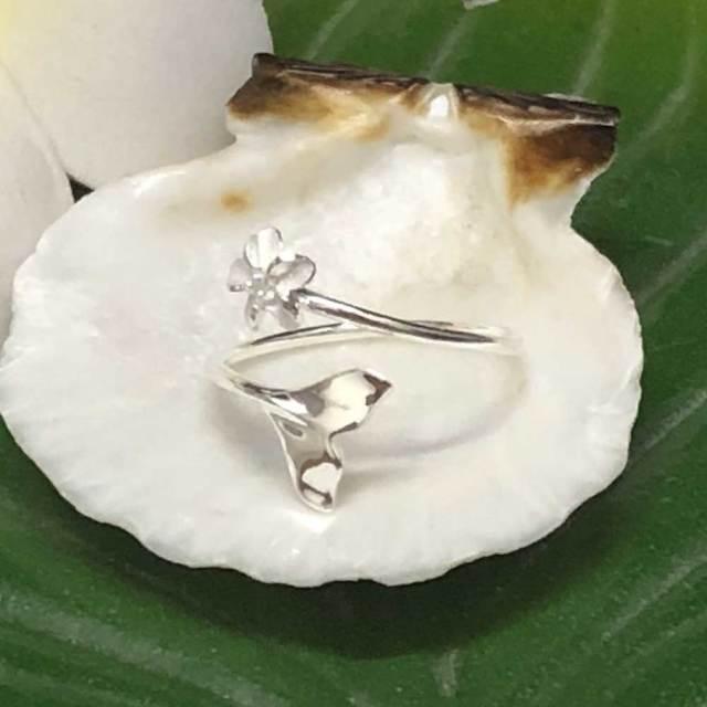 ハワイアンジュエリー シルバートゥーリング ホエールテール×プルメリア/ピンキーリング Toe Ring 足用 指輪